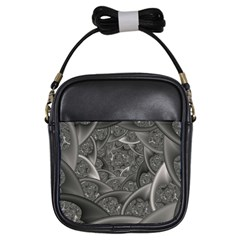 Fractal Black Ribbon Spirals Girls Sling Bags by Nexatart