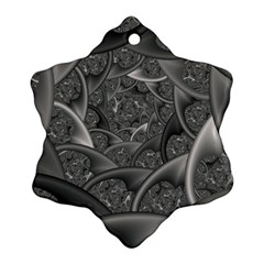 Fractal Black Ribbon Spirals Ornament (snowflake) by Nexatart