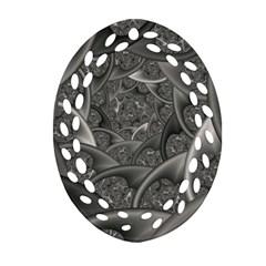 Fractal Black Ribbon Spirals Oval Filigree Ornament (two Sides)