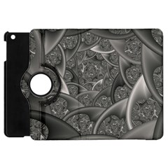 Fractal Black Ribbon Spirals Apple Ipad Mini Flip 360 Case by Nexatart
