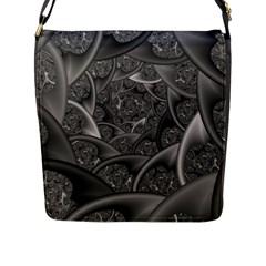 Fractal Black Ribbon Spirals Flap Messenger Bag (l)  by Nexatart