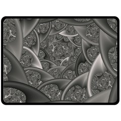 Fractal Black Ribbon Spirals Double Sided Fleece Blanket (large)  by Nexatart