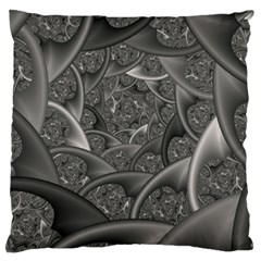 Fractal Black Ribbon Spirals Large Flano Cushion Case (two Sides) by Nexatart