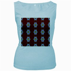 Geometric Seamless Pattern Digital Computer Graphic Women s Baby Blue Tank Top