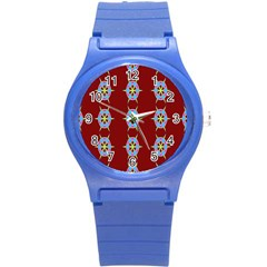 Geometric Seamless Pattern Digital Computer Graphic Round Plastic Sport Watch (s)