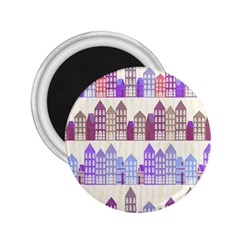 Houses City Pattern 2 25  Magnets by Nexatart