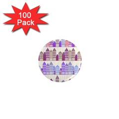 Houses City Pattern 1  Mini Magnets (100 Pack)  by Nexatart