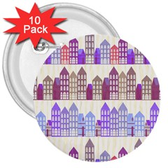 Houses City Pattern 3  Buttons (10 Pack)