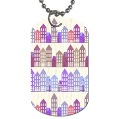 Houses City Pattern Dog Tag (two Sides) by Nexatart