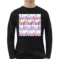 Houses City Pattern Long Sleeve Dark T Shirts