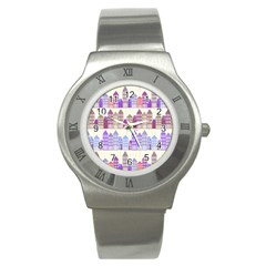Houses City Pattern Stainless Steel Watch by Nexatart