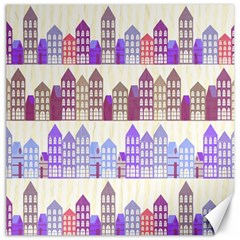 Houses City Pattern Canvas 12  X 12