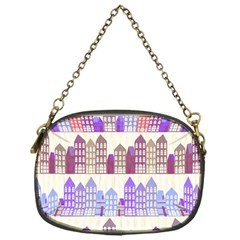 Houses City Pattern Chain Purses (one Side)  by Nexatart