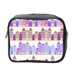 Houses City Pattern Mini Toiletries Bag 2 Side by Nexatart