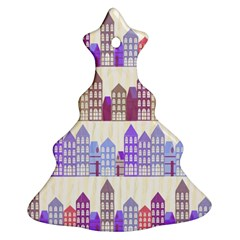 Houses City Pattern Christmas Tree Ornament (two Sides)