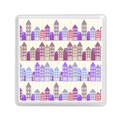 Houses City Pattern Memory Card Reader (square)  by Nexatart