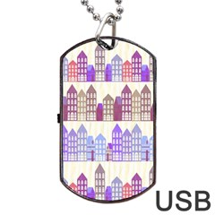 Houses City Pattern Dog Tag Usb Flash (two Sides) by Nexatart