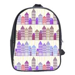 Houses City Pattern School Bags (xl)  by Nexatart