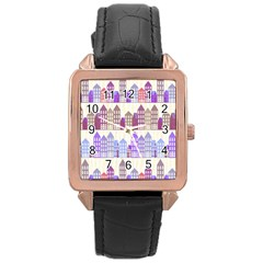 Houses City Pattern Rose Gold Leather Watch  by Nexatart