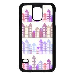 Houses City Pattern Samsung Galaxy S5 Case (black) by Nexatart