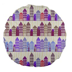 Houses City Pattern Large 18  Premium Flano Round Cushions by Nexatart