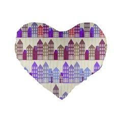 Houses City Pattern Standard 16  Premium Flano Heart Shape Cushions by Nexatart
