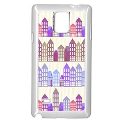 Houses City Pattern Samsung Galaxy Note 4 Case (white) by Nexatart