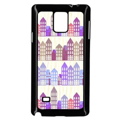 Houses City Pattern Samsung Galaxy Note 4 Case (black) by Nexatart