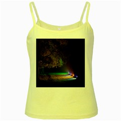 Illuminated Trees At Night Yellow Spaghetti Tank