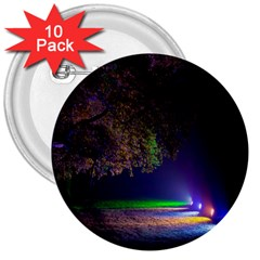 Illuminated Trees At Night 3  Buttons (10 Pack)