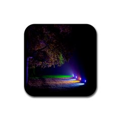 Illuminated Trees At Night Rubber Square Coaster (4 Pack)  by Nexatart