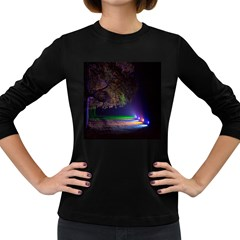 Illuminated Trees At Night Women s Long Sleeve Dark T Shirts