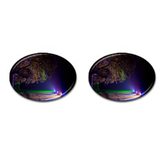 Illuminated Trees At Night Cufflinks (oval)
