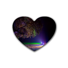 Illuminated Trees At Night Heart Coaster (4 Pack)