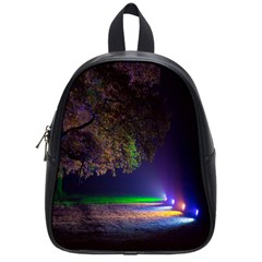 Illuminated Trees At Night School Bags (small)  by Nexatart