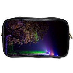 Illuminated Trees At Night Toiletries Bags 2 Side by Nexatart