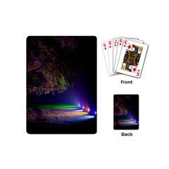 Illuminated Trees At Night Playing Cards (mini)  by Nexatart