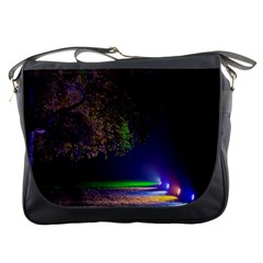 Illuminated Trees At Night Messenger Bags by Nexatart