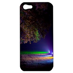Illuminated Trees At Night Apple Iphone 5 Hardshell Case by Nexatart