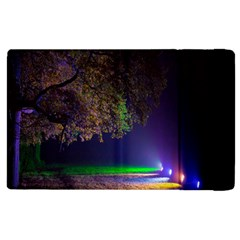 Illuminated Trees At Night Apple Ipad 3/4 Flip Case by Nexatart