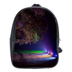 Illuminated Trees At Night School Bags (xl)  by Nexatart