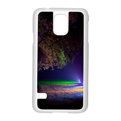 Illuminated Trees At Night Samsung Galaxy S5 Case (white) by Nexatart
