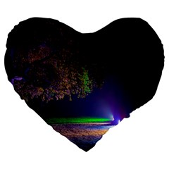 Illuminated Trees At Night Large 19  Premium Flano Heart Shape Cushions by Nexatart