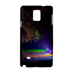 Illuminated Trees At Night Samsung Galaxy Note 4 Hardshell Case by Nexatart