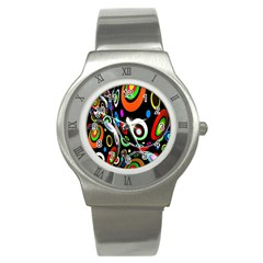 Background Balls Circles Stainless Steel Watch