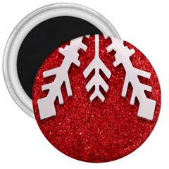 Macro Photo Of Snowflake On Red Glittery Paper 3  Magnets by Nexatart