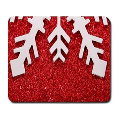 Macro Photo Of Snowflake On Red Glittery Paper Large Mousepads by Nexatart