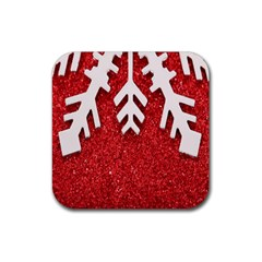 Macro Photo Of Snowflake On Red Glittery Paper Rubber Square Coaster (4 Pack)  by Nexatart