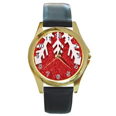 Macro Photo Of Snowflake On Red Glittery Paper Round Gold Metal Watch
