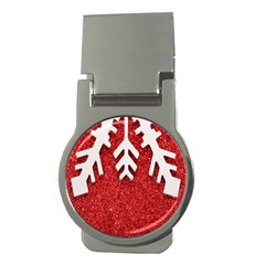 Macro Photo Of Snowflake On Red Glittery Paper Money Clips (round)  by Nexatart